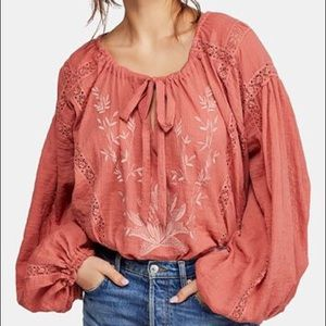 Free People Maria cotton top pink longsleeve XS